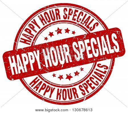 happy hour specials red grunge round vintage rubber stamp