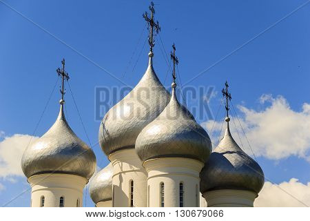 These are traditional for the Russian Orthodox Church domes with orthodox crosses with a crescent.