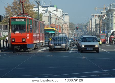 BELGRADE/SERBIA-OCTOBER 24, 2015: Tram and cars at the traffic of main avenue. October 24, 2015-Belgrade/Serbia