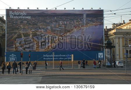 BELGRADE/SERBIA-OCTOBER 24, 2015: Huge billboard near the Main Train Station of Belgrade October 24, 2015-Belgrade/Serbia