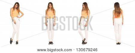 Full Length Portrait Of Beautiful Teen In Pants