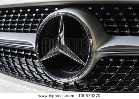 BANGKOK, THAILAND - MAY 20, 2016 : Mercedes Benz logo on Cla 2016 model, sub compact luxury car line production from German automobile manufacturer.