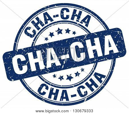 cha-cha blue grunge round vintage rubber stamp