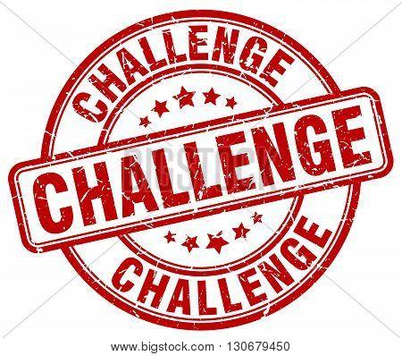 challenge red grunge round vintage rubber stamp