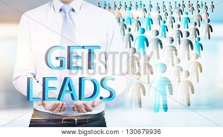 Lead generation concept with businessman and staff icons