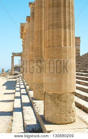 Ancient Temple on Beach of The Greek Island of Rhodes