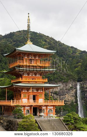 Nachi Waterfalls (Nachi-No-Taki) and Three stories pagoda in Wakayama, Japan.