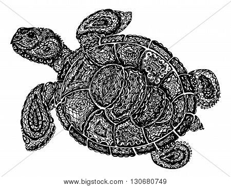 Sea Turtle Illustration In Paisley Mehndi Style.