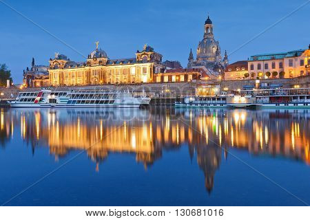 DRESDEN, GERMANY - MAY 12, 2016: View of the old town of Dresden over river Elbe, Germany on May 12, 2016.