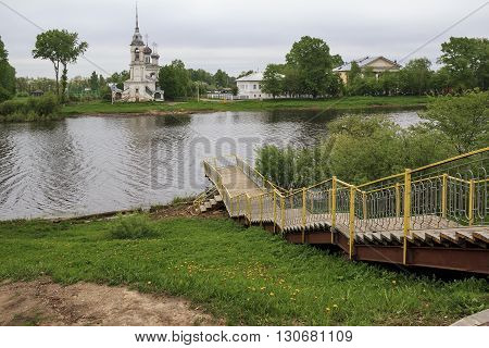 Here is evening landscape in the Russian province near the city of Vologda.