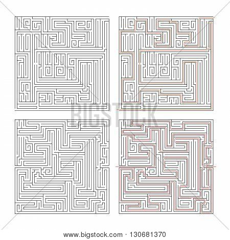 Two different mazes of high complexity on white and solution with red paths