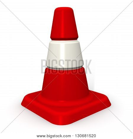 Traffic cone. Red - white protective (signaling) traffic cone. Isolated. 3D Illustration