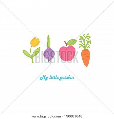 The tulip, onions, apple and carrot are built in a row. My little garden. Cute cartoon set of flower, vegetable and fruit. Hand-drawn vector illustration. Nature set isolated on white background