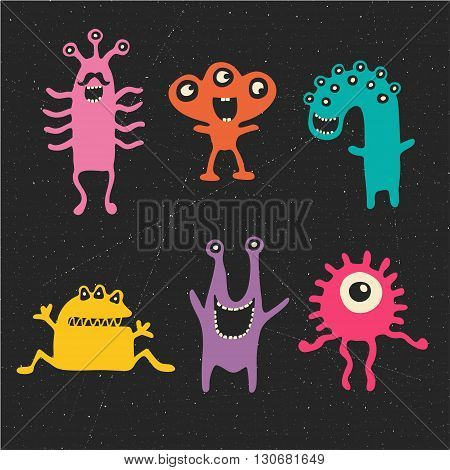 vector set of cartoon cute monsters. Abstract