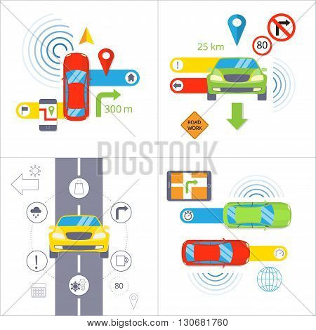 Car navigation. GPS navigation concept. Set of 4 flat vector illustration isolated on white background. Colorful car, pin, arrow, road, icon, map symbol, phone, road sign, color template for you text