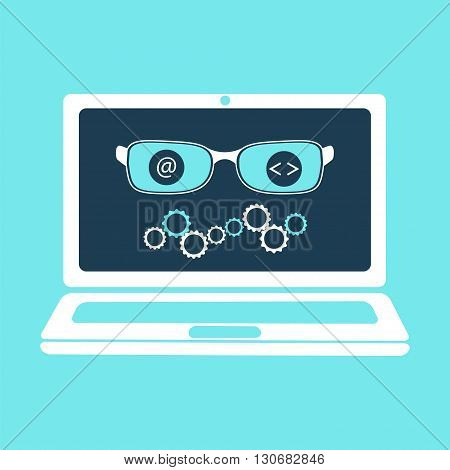 Artificial intelligence concept. Vector illustration for computer mind robot software machine translation with glasses and gears on laptop screen