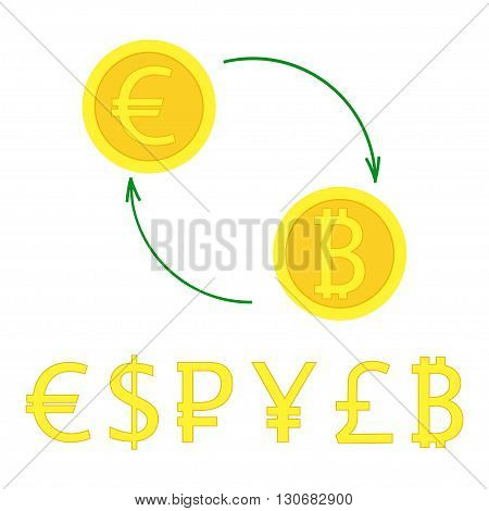 Currency exchange with arrows. Vector illustration of gold coin signs swap for banking e-commerce international trade forex. Most popular money in flat style - euro pound dollar bitcoin pound ruble.