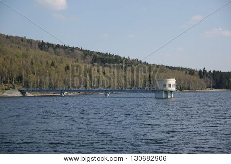 Intake tower in Prisecnice Dam in Czech republic