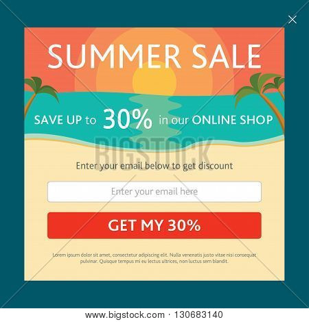 Vector template for email subscribe on shopping theme. With colorful sunset, beach and palm threes. Summer.