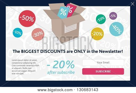 Vector template for subscribe popup. On shopping theme.