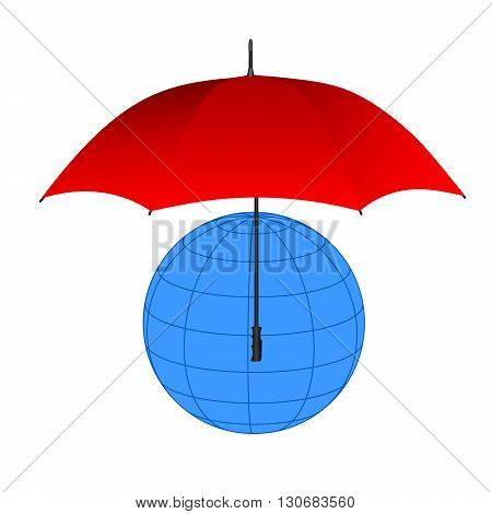 Globe under red umbrella. Vector illustration for your design