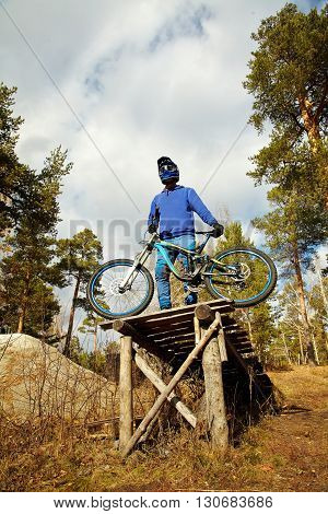 man with a mountain bike outdoor. extreme sport