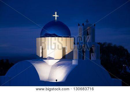 Church During Sunrise, Fira, Santorini, Greece