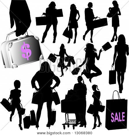woman shopping collection - vector