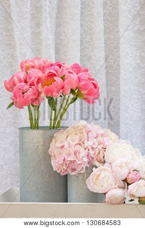 flower bouquets , bunch of Pink Peony and Hydrangea flowers