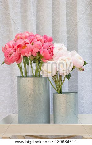 flower bouquets , bunch of Pink and  white Peony flowers