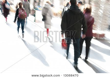 People Walking In A Modern Interior, Motion Blur