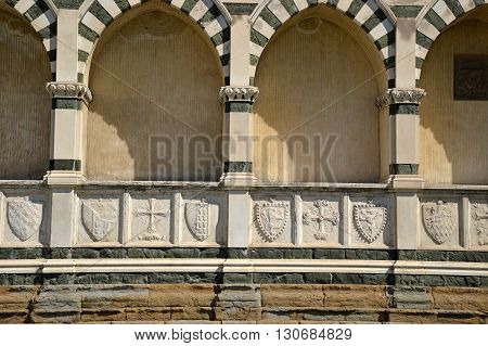 exterior detail of Santa Maria Novella church in Florence in Tuscany - Italy