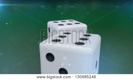 3D Rendering. White dices with a green background closeup