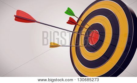 3D Rendering. Hitting the target with a darts arrow against a white background