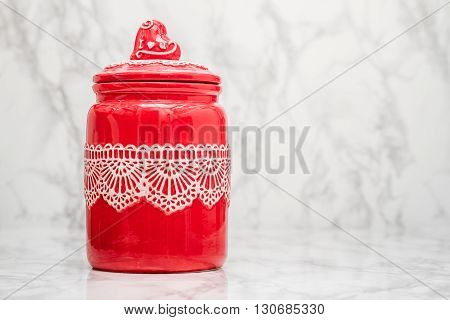 Red Round Porcelain Jar With Lace Pattern