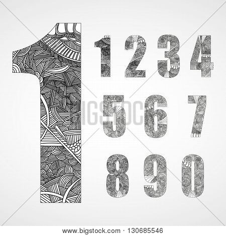Set of number with hand drawn abstract doodle pattern in black and white colors.