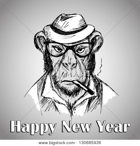 Hipster monkey with hat and a cigarette a symbol 2016 happy new year. Vector illustration
