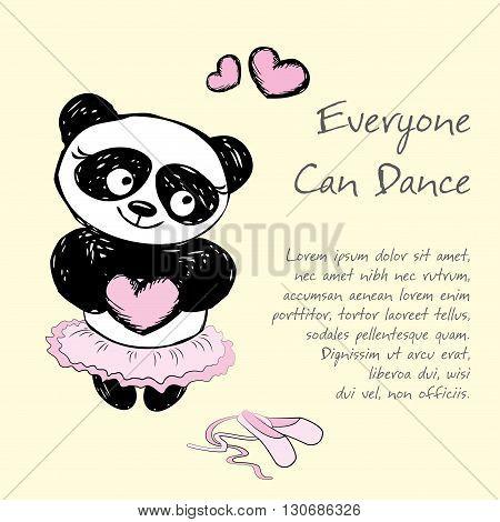 Panda Girl ballet dancerhand drawn vector illustration background