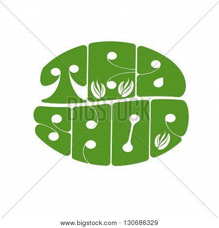 Tea shop.Green tea shop logo. Organic hot drink label design. Green tea leaves isolated. Sale emblem isolated concept. Vector illustration