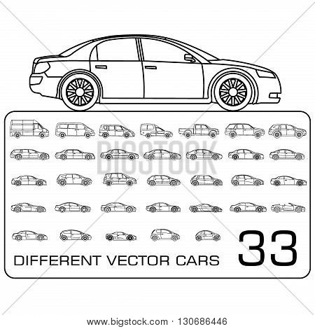 different car icon big set vector illustration