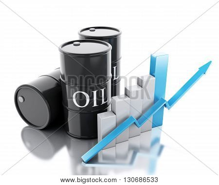 3d renderer image. Three barrels of oil. Business concept. Isolated white background.