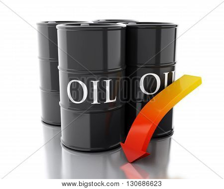 3d renderer image. Four barrels of oil with an arrow pointing down. Business concept. Isolated white background.