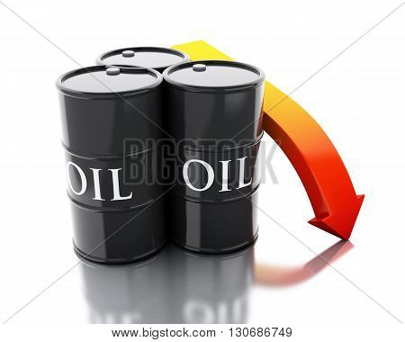 3d renderer image. Three barrels of oil spilled with an arrow pointing down. Business concept. Isolated white background.