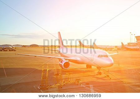 passenger aircraft at the airport getting ready for the flight