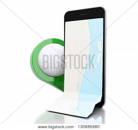 3d renderer image. Smartphone with a map and green map pointer. Navigation concept. Isolated white background.
