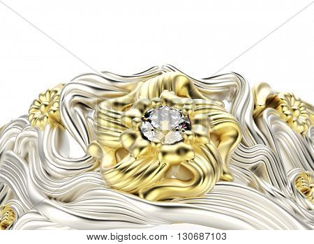 3D illustration of gold Ring with Diamond and flower ornament. Jewelry background. Fashion accessory