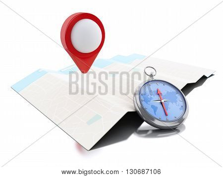 3d renderer image. Map with blue pointer and a compass. Navigation concept. Isolated white background.