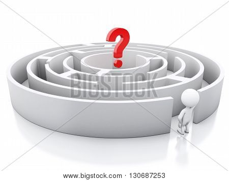 3d renderer image. White people with a maze and question mark. Success challenge. Isolated white background.
