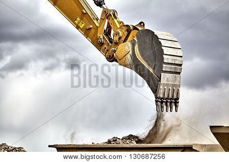 Construction Industry Excavator With Portable Quarry Machine Closeup