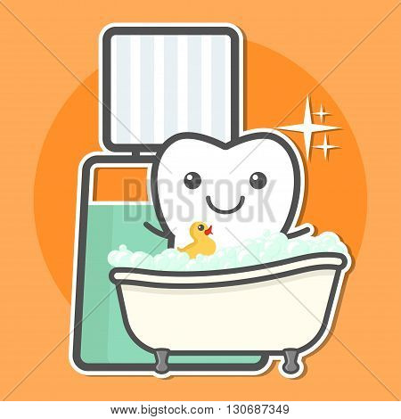 Tooth take a bath of mouthwash. Teeth hygiene concept. Dental vector illustration.